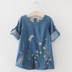 Keelorn Girls Denim Dress Children Clothing Casual Style Girls Clothes Butterfly Embroidery Dress Kids Clothes Spring WOW Visit us