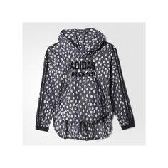 adidas Windbreaker ($140) ❤ liked on Polyvore featuring activewear, activewear jackets, black, adidas activewear, adidas sportswear and adidas
