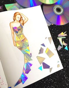 Fashion Drawing Making a dress out of broken CD/DVD's in my new book 'Color Me. - Making a dress out of broken CD/DVD's in my new book 'Color Me Creative' Fashion Design Sketchbook, Fashion Design Drawings, Fashion Sketches, Illustration Mode, Illustrations, Fashion Illustration Tutorial, Fashion Illustration Dresses, Arte Fashion, Fashion Collage
