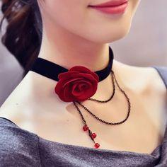 $2.22 Chic Flower Multilayer Chain Tassel Choker Necklace For Women