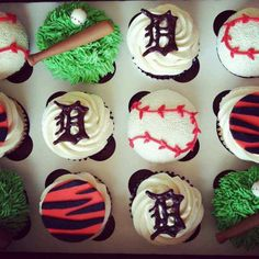 Cupcakes for the baseball fan! These are Detroit Tiger Cupcakes, but you can do any team. The old English D is made of chocolate.
