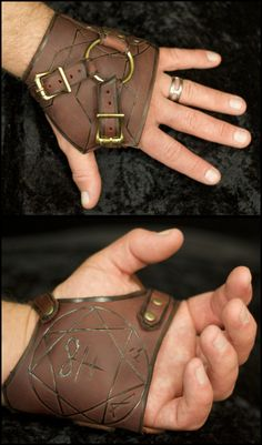 Exorcism gloves with the sigils inlaid on the palms. This should be part of the kit of every mage, druid, healer, shaman, whatever. If your LARP has possession as a possible attack then you need these. - Arcanepunk: Exorcism Handwraps by TormentedArtifact