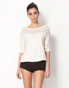 Bershka Romania - Bershka lace edging detail jumper