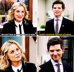 """And when Ben decided to let Leslie take that dream even further. 27 Times """"Parks And Rec"""" Made You Laugh And Then Cry Parks And Rec Memes, Parks And Recreation Ben, Parcs And Rec, Leslie And Ben, Ben Wyatt, Amy Poehler, Comedy Tv, Best Shows Ever, New Girl"""