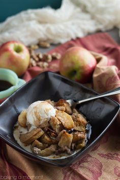 Here's what to do with your apple picking bounty: Apple Walnut Bread Pudding with Cinnamon Cider Sauce!  THE most comforting Fall dessert.