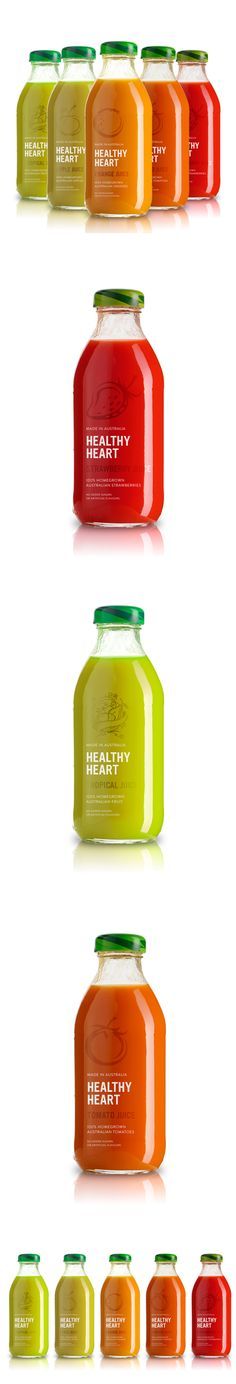 Healthy heart packaging deisgn Juice Branding, Juice Packaging, Beverage Packaging, Bottle Packaging, Brand Packaging, Jugo Natural, Juice Smoothie, Smoothies, Pretty Packaging