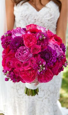 Hot pink and fuchsia wedding bouquet with spray roses, English roses, dahlias, and stock. Pink Wedding Colors, Purple Wedding, Floral Wedding, Dream Wedding, Fuschia Wedding Flowers, Summer Wedding, Coral Roses, Hot Pink Flowers, August Wedding