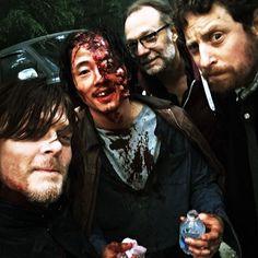 Norman Reedus, Steven Yeun, Greg Nicotero & Scott Gimple (Behind the scenes of Walking Dead Season 7 premiere.)