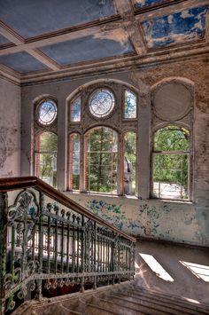 Beelitz-Heilstätten Sanatorium, Germany. Wow look at those beautiful windows. Abandoned beauty.