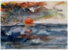 Atlantik-Sunset, Aquarell 40x60cm