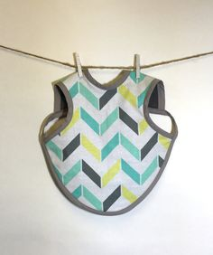 Baby Bapron 6 - 18 Months Teal Yellow Grey and White Chevron by MadeAtHomeByAnnie on Etsy