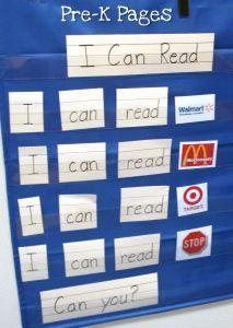 """I Can Read"" Environmental Print Pocket Chart Activity"