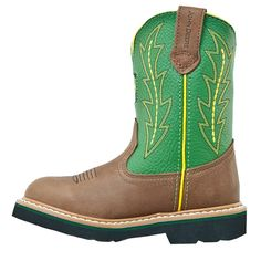 John Deere Kids' Wellington Cowboy Boot Toddler/Preschool Boots (Tan/Green) - 11.0 M