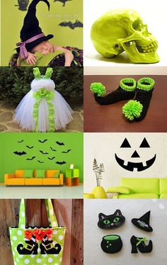HALLOWEEN by BIJOUX LIBELLULE on Etsy--Pinned with TreasuryPin.com Girls Dresses, Flower Girl Dresses, Neon Green, Lime, Halloween, Wedding Dresses, Flowers, Etsy, Apple