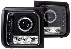 Amazon.com: Spec-D Tuning LHP-CHKE97JM-RS Jeep Cherokee Black Projector Headlights Lamp W/ Led Drl: Automotive