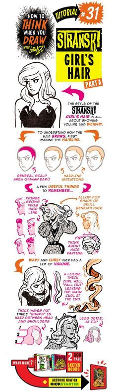 Here's the next of my special STRANSKI tutorials, showing how to draw GIRL'S HAIR and HAIRSTYLES. If you want more, here are TONS...