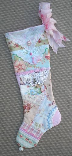 Pastel Christmas Stocking Shabby Chic Quilted Patchwork Victorian Cottage
