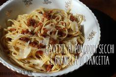 Bavette ai pomodori secchi e granella di pancetta