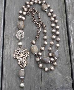 Boho Czech Glass Pearl & Fossil Bone Bead Filigree & Heart/Bird Charm Necklace in Jewelry & Watches, Handcrafted, Artisan Jewelry, Necklaces & Pendants | eBay