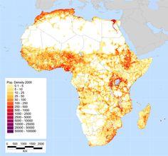 La densidad de población de África [800x747] HAGA CLIC AQUÍ PARA MÁS MAPAS! Thelandofmaps.tumblr.com