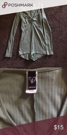 Windsor mint green body suit Never worn!! PacSun Tops Tees - Long Sleeve