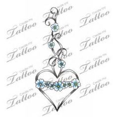 Marketplace Tattoo Heart & Forget-Me-Not Flowers #1619 | ... | before ...