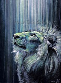 Illumination Signed Archival Print by ArdenEllenNixon on Etsy, $15.00  (Just discovered a Lion Whisperer, who can paint! Amazing.)