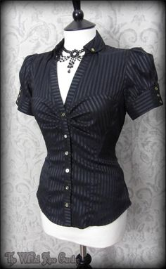 Elegant Gothic Black Satin Striped Puff Sleeve Top 10 Victorian Steampunk | THE WILTED ROSE GARDEN