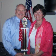 The Honorable Dennis Clough congratulates Devon Oaks, represented by Kathy Bultema, for winning the first place Judges Choice award at the Westlake Healthcare Organization Chili Cook-Off. The annual event was hosted by Westlake Community Center in March.