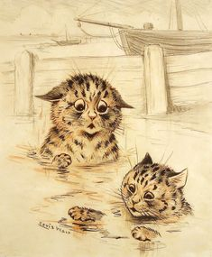 """Learning To Swim"" - Louis Wain - unhappy wet cats Louis Wain Cats, Creation Photo, Cat Sketch, Cat Posters, Grant Wood, Here Kitty Kitty, Cat Drawing, Oeuvre D'art, Crazy Cats"