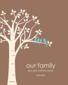Gift for a single parent, adopting parent or blended family - family tree print