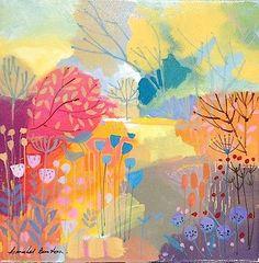 Original-Acrylic-Painting-on-Canvas-Changing-Seasons-Signed-Annabel-Burton