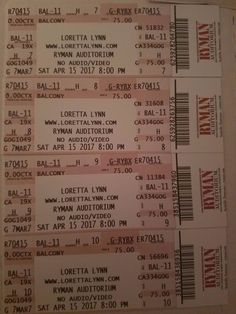 #tickets 4 LORETTA LYNN TICKETS RYMAN AUDITORIUM SATURDAY APRIL 15,2017 please retweet