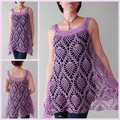 Best 12 Crochet Pineapple Stitch Sleeveless Top Crochet Pattern for Ladies – SkillOfKing. Black Crochet Dress, Crochet Jacket, Crochet Cardigan, Crochet Woman, Hand Crochet, Knit Crochet, Crochet Strawberry, Pineapple Crochet, Pineapple Top