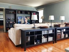 """Like idea for behind the couch but with drawers or doors. Living room Entertainment Center Angle 2 Black/Brown Furniture - IKEA Hemnes Custom Sectional Sofa - Jonathan Louis """"Baxter"""" in Large Corduroy Oatmeal color Lamps - Target Living Room Storage, Home Living Room, Living Room Furniture, Living Room Designs, Home Furniture, Living Room Decor, Brown Furniture, Rustic Furniture, Furniture Online"""