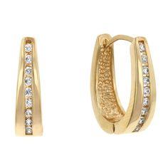 Elegant Goldtone Finish Cubic Zirconia Hoop Earrings