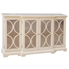 Bring chic style to your dining room or kitchen with this weathered wood sideboard, showcasing 4 latticed doors, antiqued glass panels, and 3 adjustable shel...