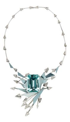 Aquamarine, Diamond, Platinum Necklace The necklace features an emerald-cut aquamarine measuring x x - Available at 2016 April 19 Fine Jewelry. Bling Bling, Wholesale Jewelry, Jewelry Necklaces, Statement Necklaces, Diamond Jewelry, Turquoise Necklace, Arrow Necklace, Vintage Jewelry, Fine Jewelry
