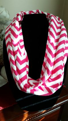 Fuschia Pink and White Chevron Infinity Scarf by SittisHands on Etsy