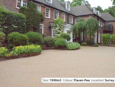 Resin Bound Driveway in Flaxen Pea colour, Wentworth, Surrey by Clearstone Permeable Driveway, Resin Driveway, Driveway Landscaping, Driveway Ideas, Resin Bound Driveways, Gravel Drive, Kerb Appeal, Driveway Entrance, Garden Paths