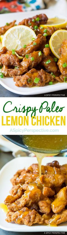 Crazy over this Lightened-Up Chinese Lemon Chicken Recipe (Paleo!) | http://ASpicyPerspective.com