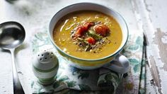 Roast Veg soup - Lots of supermarkets now stock bags of roasted frozen veg which you could use to make this healthy recipe super speedy Roast Vegetable Soup Recipe, Roasted Vegetable Soup, Roasted Vegetables, Healthy Soup Recipes, Vegetarian Recipes, Vegan Soups, Burger Recipes, Yummy Recipes, Dessert Recipes
