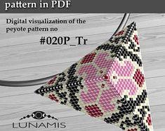 Peyote triangle patterns, pattern for triangle pendant, peyote patterns, beading, peyote stitch, digital file, pdf pattern #020P_Tr