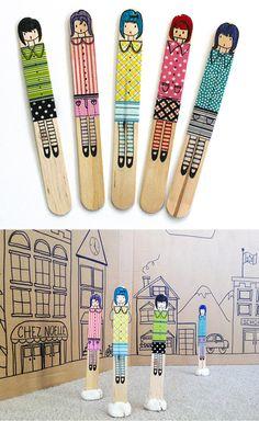 Fun Washi Tape Craft Ideas for Kids | Craft Stick Dolls by DIY Ready at http://diyready.com/100-creative-ways-to-use-washi-tape/