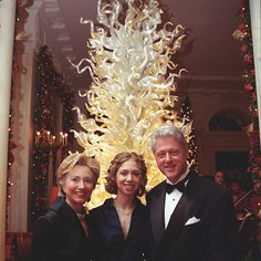 The Clinton Library is on Instagram! We're sharing great photos from our archival and museum holdings, permanent and temporary exhibits, Library events, Library staff at work, public educational programs and more. Don't miss any of the great pics:http://instagram.com/wjclibrary42 Photo:The Clinton family standing in the front of a Chihuly glass tree at the White House Millennium Dinner. December 31, 1999.