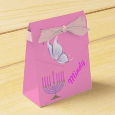 Pink Bat Mitzvah Favor Box features a menorah and a butterfly with a place holder for the Bat Mitzvah girls name.