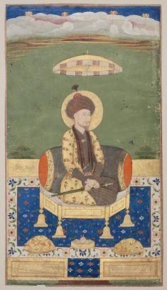 Ancestral portrait of an Mughal Emperor, possibly Babur Shah. 18-19th C. India