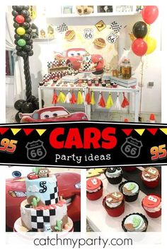 Don't miss this awesome Disney Cars birthday party! The dessert table is so much. Disney Cars Party, Disney Cars Birthday, Cars Birthday Parties, Car Birthday, Themed Parties, Birthday Ideas, Route 66, Dessert Table, Party Planning