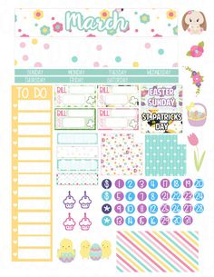 Printable Planner Stickers March Monthly View Erin by LaceAndLogos