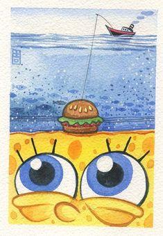 SpongeBob Gallery Show - SpongeBob Gallery Show sur Behance - . - SpongeBob Gallery Show – SpongeBob Gallery Show sur Behance – noir - Spongebob Painting, Spongebob Drawings, Cartoon Painting, Spongebob Tumblr, Cute Canvas Paintings, Small Canvas Art, Mini Canvas Art, Easy Paintings, Cool Art Drawings